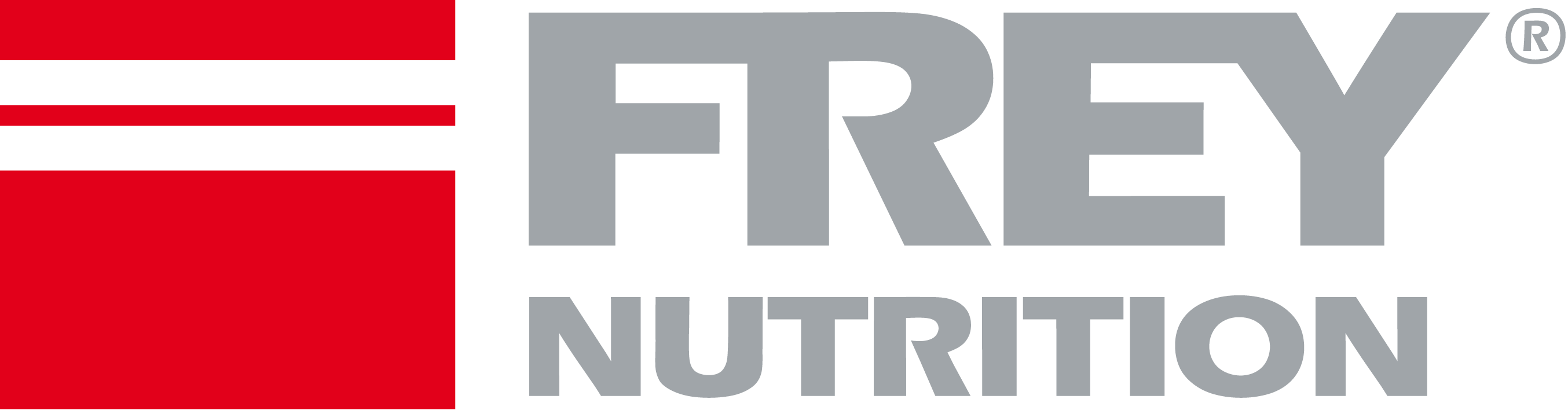 frey nutrition logo red grey gradient